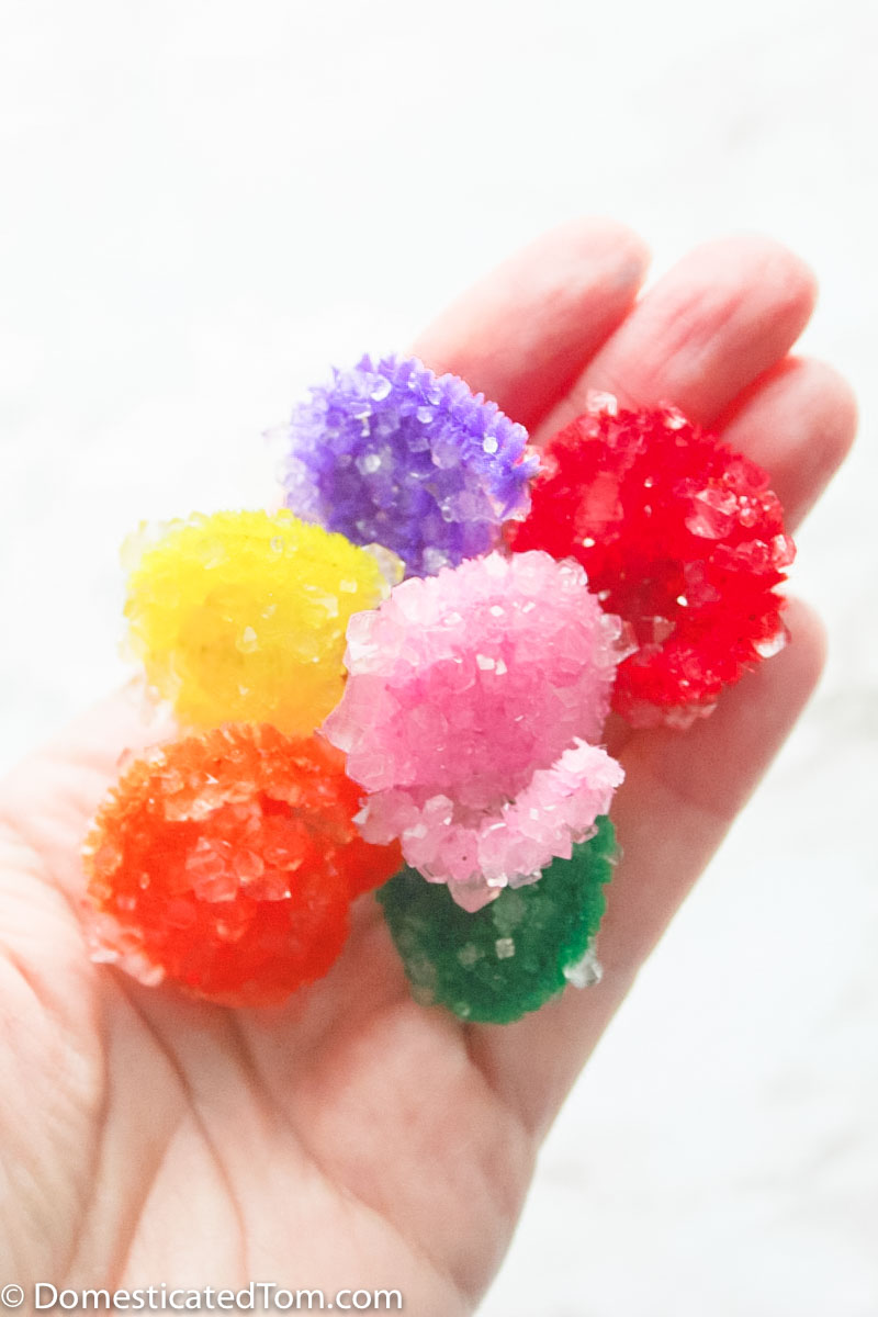 handful of borax crystal made with pipe cleaners